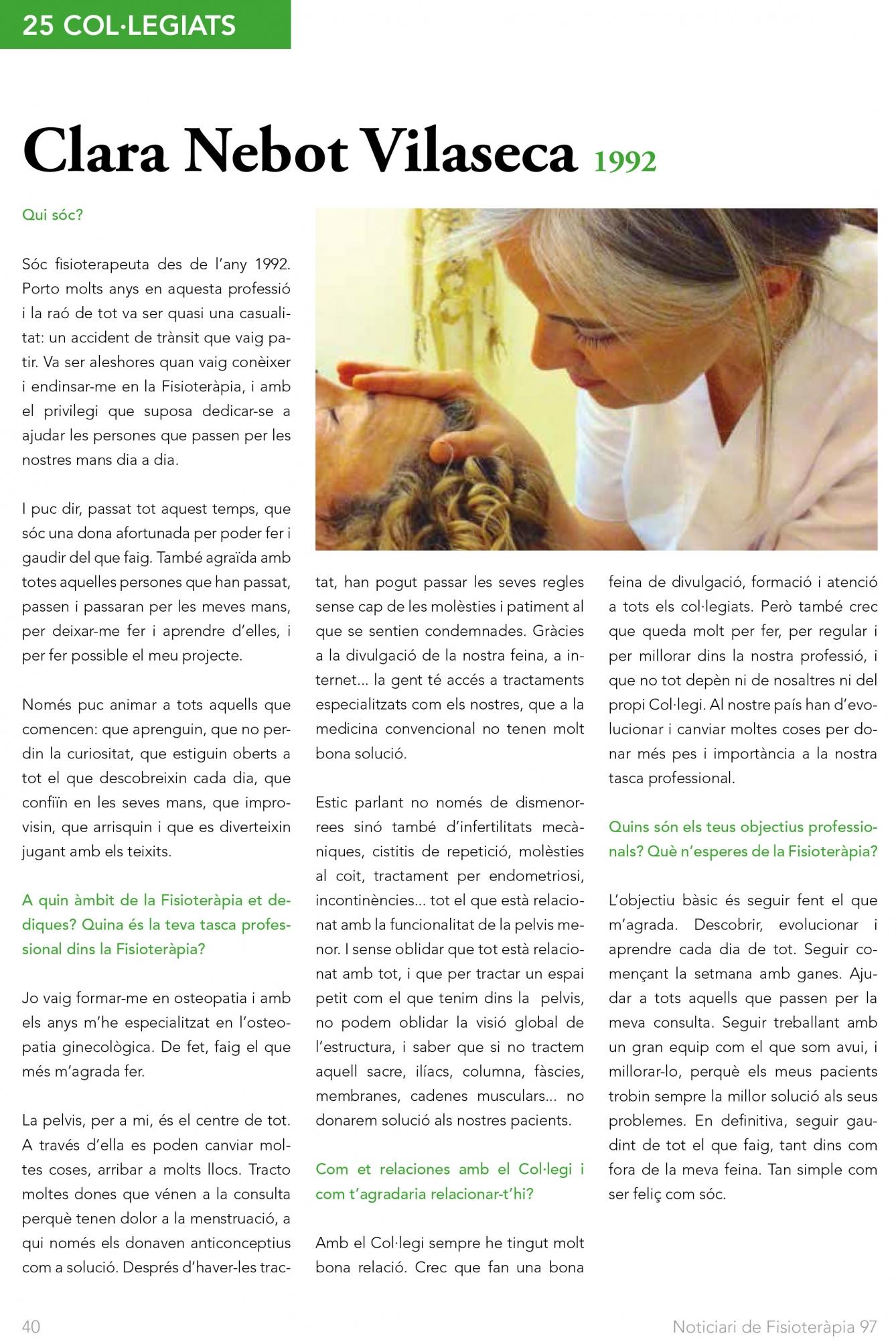 Clara Nebot entrevistada por el Col·legi de Fisioterapeutes de Catalunya
